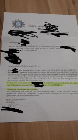 Das ist der Brief, der kam. - (Recht, Polizei)