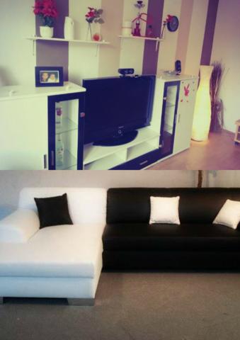 wandfarbe mit wei schwarzen m beln tapete wand farbe. Black Bedroom Furniture Sets. Home Design Ideas