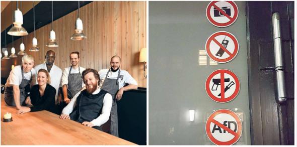 Personal und Schilder - (Restaurant, Gäste)