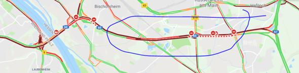 warum alles rot auf der karte(Autobahn)?