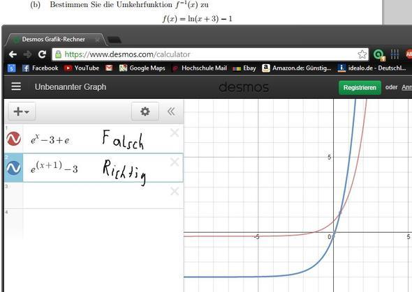 Aufgabe und meine beiden unterschiedlichen Ergebnisse - (Mathe, Funktion, Rechenregeln)