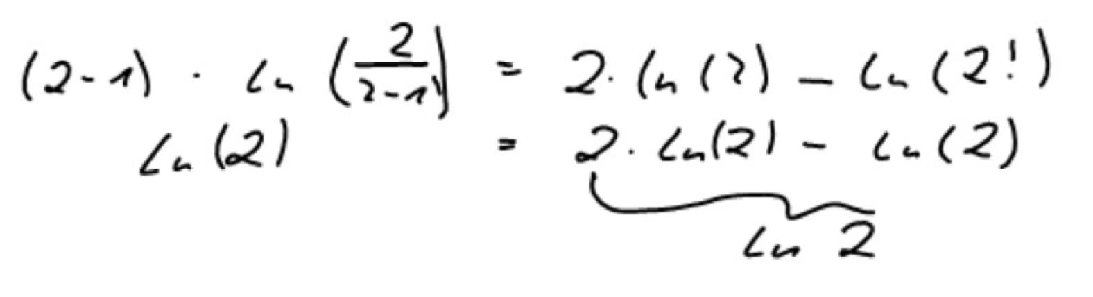 warum ergibt diese logarithmen rechnung vom lehrer ln 2. Black Bedroom Furniture Sets. Home Design Ideas