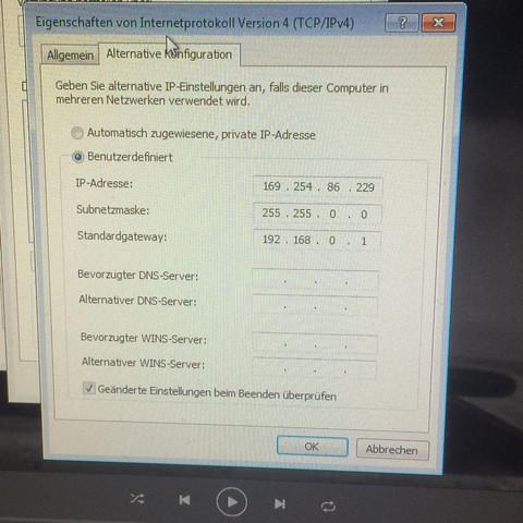 Hab versucht den Standartgateaway manuell einzugeben da vorher keiner da war - (ipv6, DNS Server, ipv4)