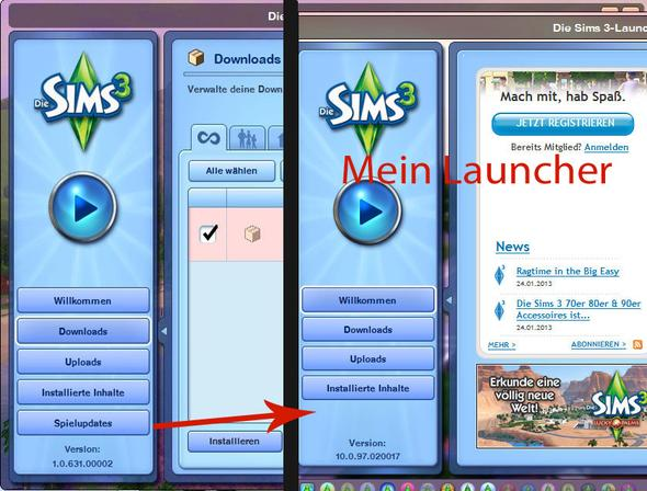 Normaler Sims 3 Launcher/ Steam Sims 3 Launcher - (Computerspiele, Steam, Sims 3)