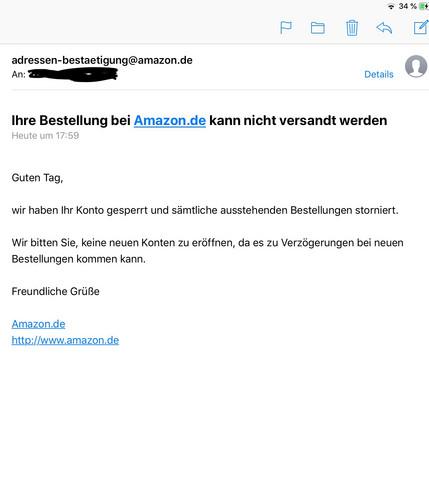 Amazon Mahnung Email