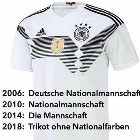 Warum ist das WM Deutschland Trikot ohne Nationalfarben?