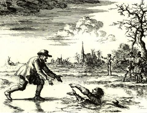 Illustration von Jan Luyken im Märtyrerspiegel: Dirk Willems rettet seinen Verfolger und wird infolgedessen 1569 auf dem Scheiterhaufen verbrannt. - (Religion, Christentum, Kirche)