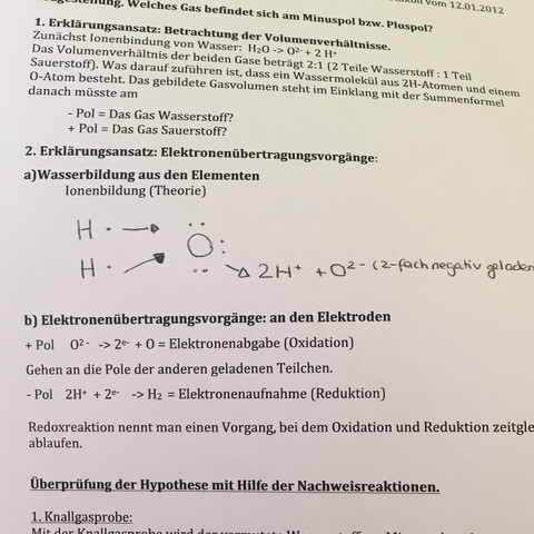 chemie-protokoll - (Schule, Chemie, Wasserstoff)