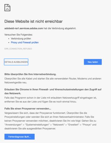 Screenshot vom Fehler - (Internet, Netzwerk, Adobe)