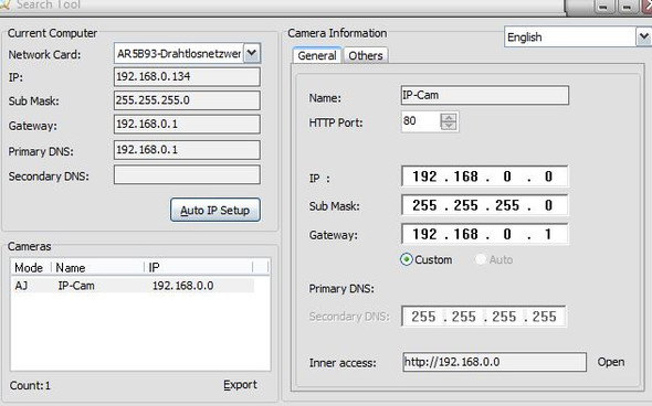 Warum kann ich die IP-Cam Wanscam nicht über Browser erreichen?