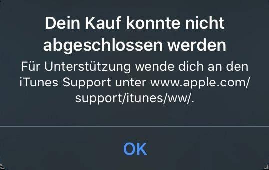 Warum kann ich keine In App Käufe tätigen (iOS)?