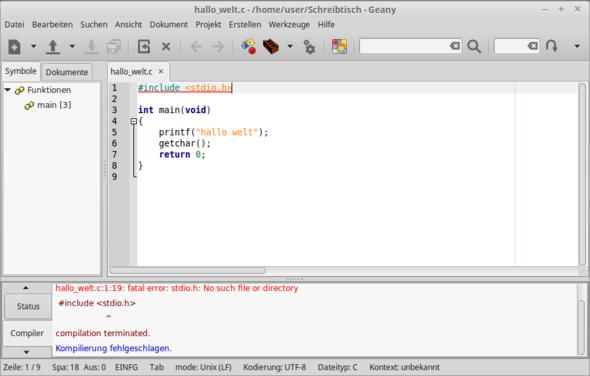 screenshot - (programmieren, Linux, geany)