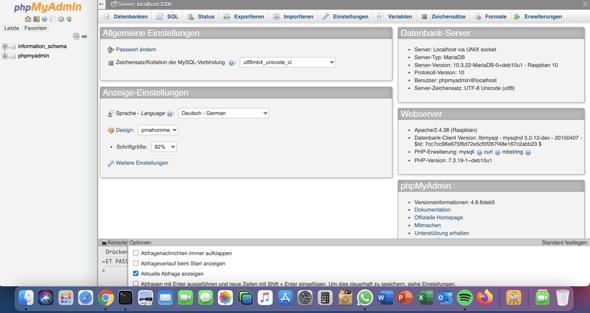 Warum kann ich keinen Benutzer erstellen oder eine neue Datenbank?