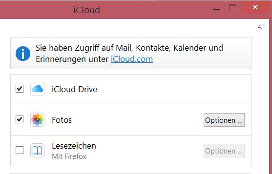 Warum kann ich Mails, Kontakte und Kalender durch die