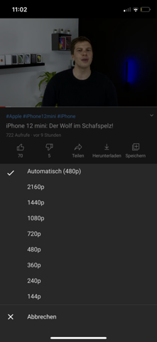 Warum kann ich manchmal 4K Videos auf meinem iPhone 11 abspielen und manchmal nicht gestern zb ging es nur bis 1080P und heute wieder viel höher woran liegtdas?