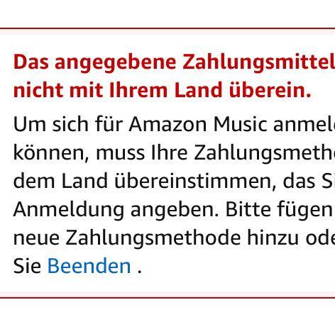 Warum kann ich mich nicht bei Amazon Music unlimited anmelden?