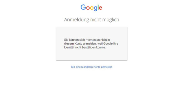 Die Fehlermeldung - (Google, g-mail)