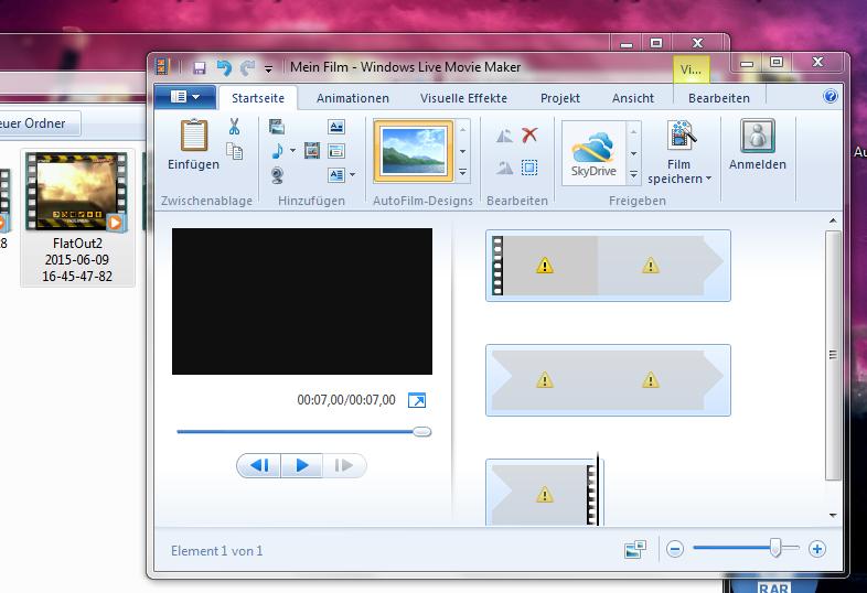 warum kann ich mit dem windows movie maker keine videos mehr bearbeiten video. Black Bedroom Furniture Sets. Home Design Ideas