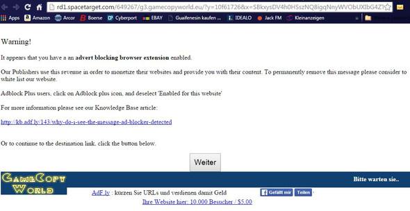 Seite wird angezeigt anstatt werbung mit counter - (Fehlermeldung, Adblock)