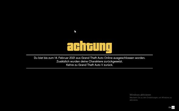Warum läuft mein Bann in GTA Online immernoch?