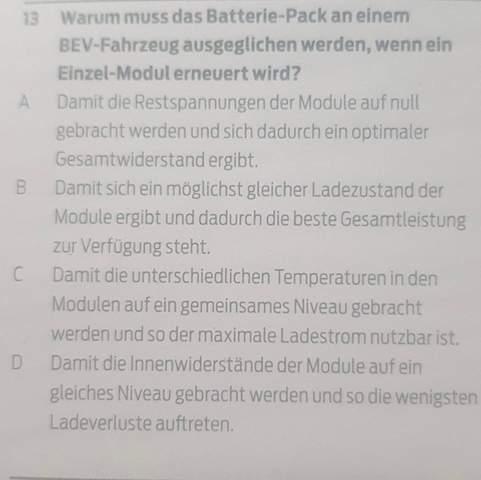 Warum muss das Batterie-Pack an einem BEV-Fahrzeug ausgeglichen werden, wenn ein Einzel-Modul erneuert wird?