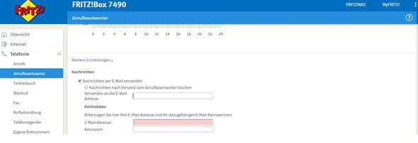 Screenshot der Einstellungen - (E-Mail, Fritz Box, anrufbeantworter)