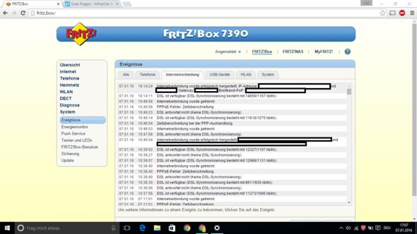 Ereignis-Log der FritzBOX - (Internet, Telekommunikation, Router)
