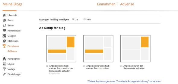 1. Hier ist zu sehen das Die Werbung im Blog aktiviert ist - (Internet, Google, Internetseite)