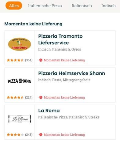 Warum werden mir so wenig Restaurants auf Lieferando angezeigt?