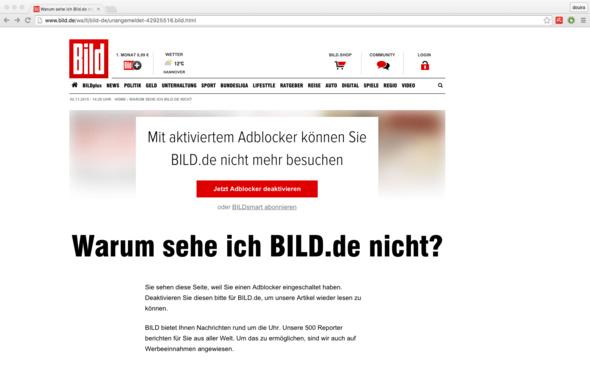 Bild.de in Chrome, Adblock zeigt ok, aber webseite nicht. - (Bilder, Werbung, Chrome)