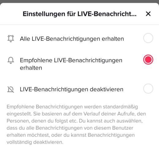 "Was bedeuten ""Live-Benachrichtigungen"" in TikTok?"