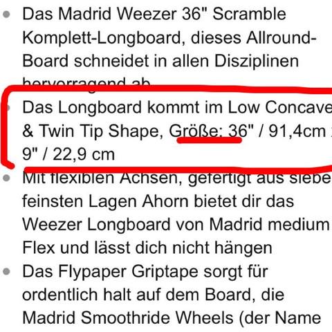 So stand es in der Beschreibung?!  - (Amazon, Skateboard, longboard)