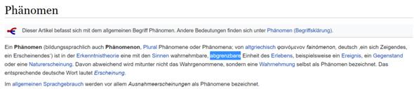 """Was bedeutet ,,abgrenzbar"""" im Hinblick auf ein Phänomen in diesem Wikiartikel?"""