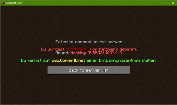 Was Bedeutet Das R Beim Bann Von Mir Von GommeHDNet Minecraft - Minecraft server erstellen wie gommehd