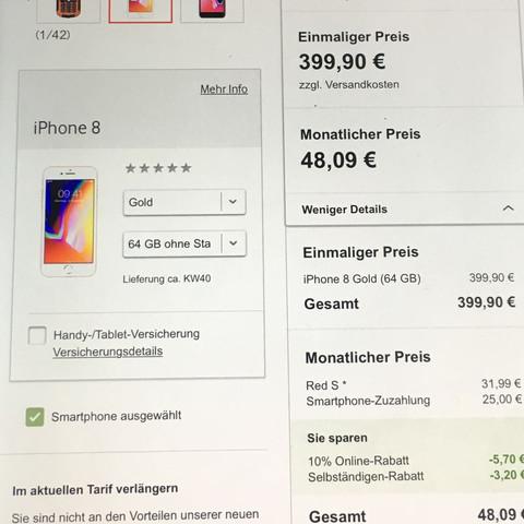 Was bedeutet der einmalige Preis bei einem handy tarif mit smartphone?Also z.B bei vodafone mit dem Red S tarif und mit dem iphone 8.eimaliger Preis Ist 399€?