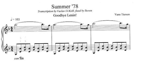 summer 78 - (Musik, Noten, Klavier)