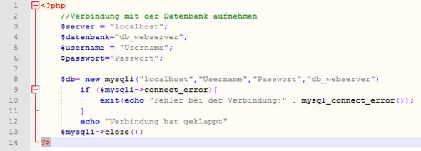 mein Quellcode - (PHP, MySQL, phpmyadmin)