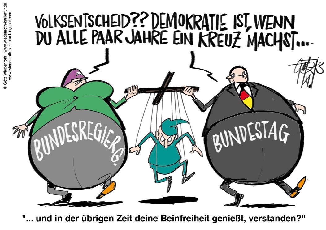 Was bedeutet diese Karikatur im Bezug auf die Demokratie? (Politik,  Demokratie.)
