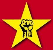 was bedeutet dieses symbol rote fahne gelber stern faust symbolik politik geschichte. Black Bedroom Furniture Sets. Home Design Ideas