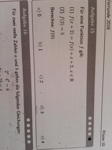 Was bedeutet f(x+2)=f(x)+x+2,x€R und was ist f(0)?