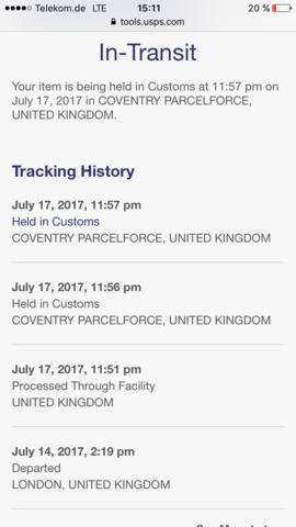 Aktueller Tracking Status  - (USPS, Paketstatus)