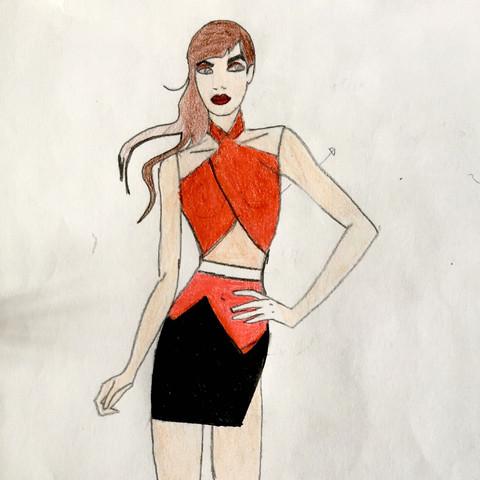 Rot und schwarz mit Oberteil und Rock kombiniert - (Mode, Kleid, Designer)