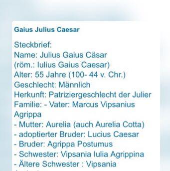 steckbrief schule liebe geschichte - Julius Casar Lebenslauf