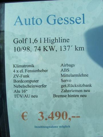 Datenblatt Golf Blau - (Autokauf, VW)