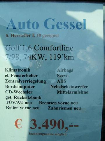 Datenblatt Golf silber - (Autokauf, VW)