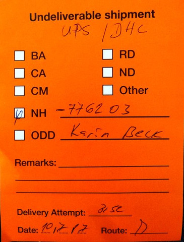 oranger Zettel - (Post, Versand, DHL)