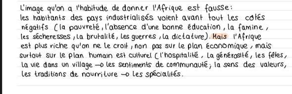 Was für Stichpunkte zum französischen Vortrag kann ich hieraus rausschreiben?