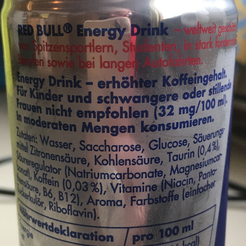 Inhaltsstoffe von Red Bull  - (schädlich, Koffein, RedBull)