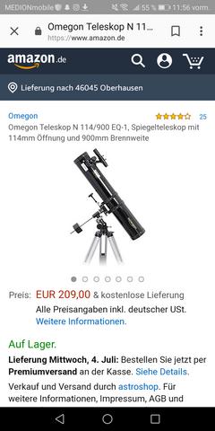 Was haltet ihr vom Omegon-Teleskop-114-900-EQ-1?