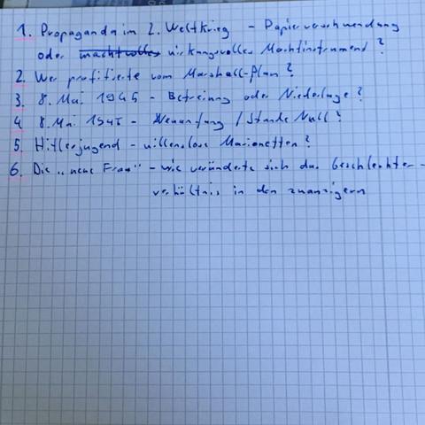 Was Haltet Ihr Von Diesen Themen Fur Das Mundliche Abitur In Geschichte